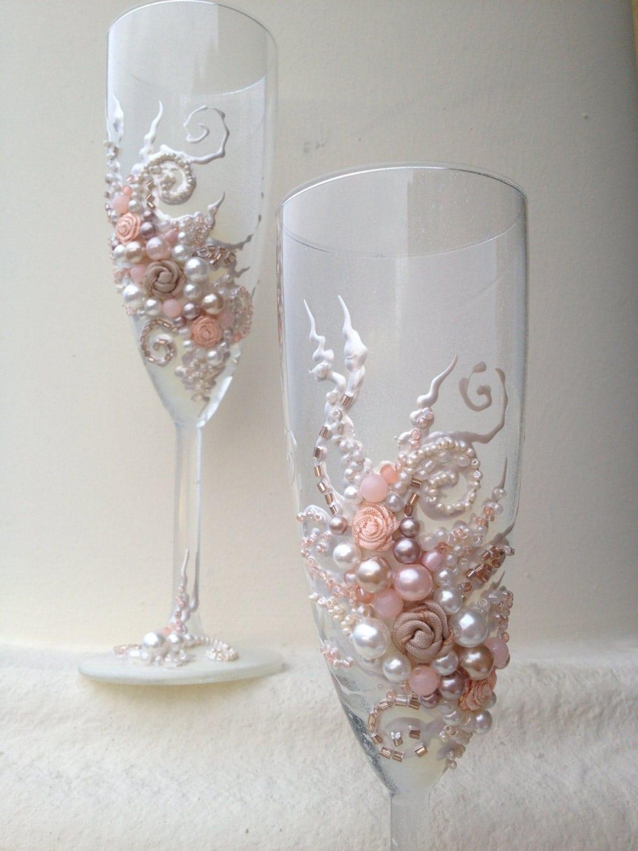 beautiful wedding champagne glasses in wedding glasses zoom