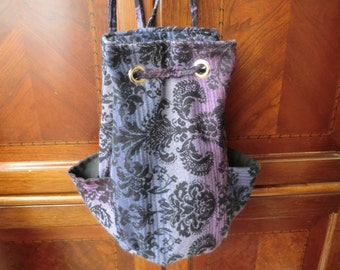 Soft Purple Damask Drawstring Backpack/Purse