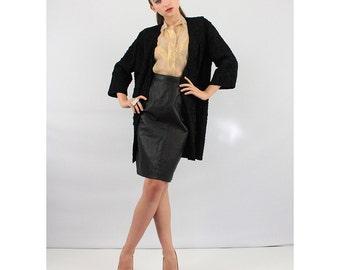1950's fashion / Vintage silk coat / Black soutache silk ribbon work coat  S M
