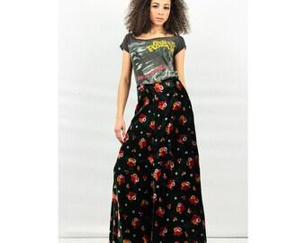 Vintage BETSEY JOHNSON / 70's Alley Cat dark green velvet floral A line maxi skirt S