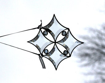 Clear Diamond Bevel Stained Glass Snowflake with Periwinkle Jewels Ornament Suncatcher Let it Snow