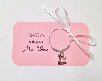 Customized Wine charms for wedding favors, bridal shower favors, birthday favors, etc. Fully Customized.