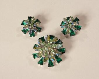 Vintage 1950s Austrian Brooch Earrings Rhinestone Green Aurora Borealis
