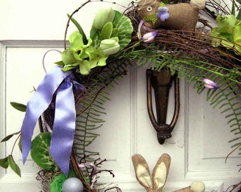 Easter Spring wreath, cute linen bunnies leap over cabbage bouquets & vines, French Cottage chic, sweet nursery or egg hunt party decor
