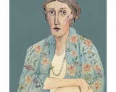 Virginia Woolf Portrait Limited Edition Giclee Print by Bett Norris.