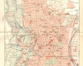 1903 Original Antique City Map of Halle