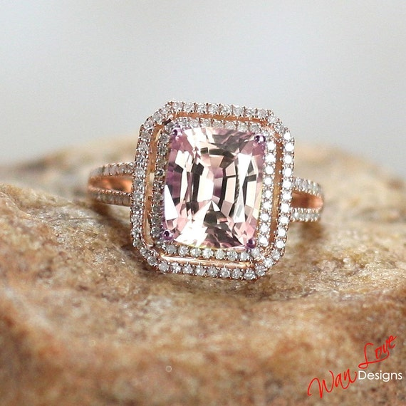 Light Pink Sapphire Diamond 2 Halo Engagement by WanLoveDesigns