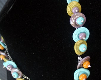 Handcrafted Disc Lampworking Sterling Silver Necklace- Turquoise, Purple, Green