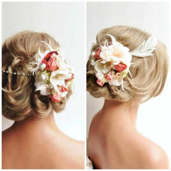 Floral Wedding Headpiece, Bridal Headpiece, Lace Bridal Headpiece, Bridal Hair Flowers, Peach Floral Headpiece, Wedding Hair Accessory