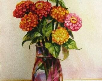 Yellow Orange Zinnia Bouquet Watercolor Original