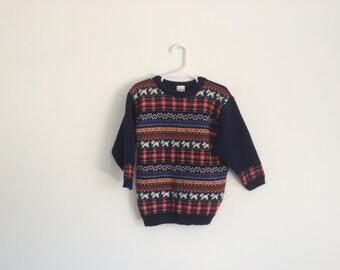1970s Girls Retro Preppy Hipster Nordic Scotty Dog Plaid Tartan Christmas Sweater