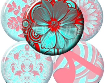 Digital Collage of turquoise - red patterns - 63 1x1 Inch Circle JPG images - Digital Collage Sheet