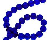 Beads : 42 Cobalt Blue Round Glass Beads ... 8mm Diameter | 12-inch Full Strand 8mm Dark Sapphire Transparent Glass Beads         50754.42