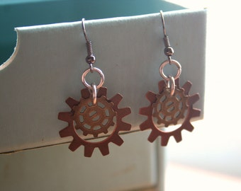 Steampunk Gear Earrings Your Choice 3 Colors