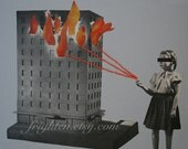 One of a Kind Retro Paper Collage, How to Start a Fire , Mixed Media Collage with Embroidery