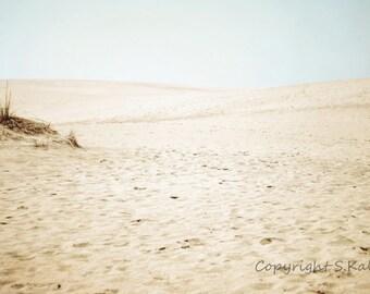 Sand Dunes Photograph Pale Beige Aqua Wall Art Meditative Calming Landscape Print 8x12