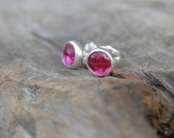 Tiny 6mm Ruby Button Post Earrings. July Birthstone. Lab Ruby and Sterling Silver Bezel Set Stud Earrings.