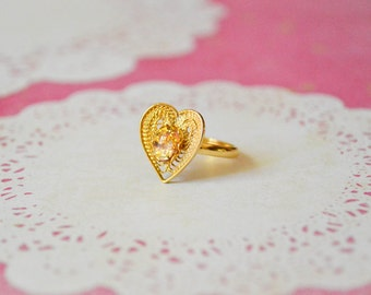 Opal Heart Ring - Fire Opal Ring - Vintage Filigree Ring - Opal Jewelry - Mother's Day Jewelry