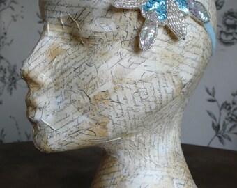 SALE Great Gatsby themed Wedding Headband. 1920's 'something blue'