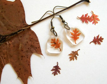 Real Autumn Oak Leaf Woodland Earrings - pressed leaves, oak leaf, leaf, autumn, fall, natural, forest, minimal, simplicity, ooak, gift
