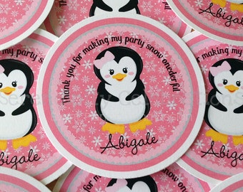 Set of 12 Personalized Favor Tags -Penguin -Thank You Tag -Gift Tag -Baby Shower -Birthday-Sticker-Holiday -Pink Black Grey -Winter 1derland