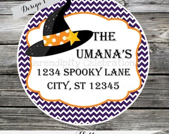 Set of 12 Personalized Favor Tags -Halloween- Witch Hat-Thank You Tag -Gift Tag -Baby Shower -Birthday-Sticker-Labels