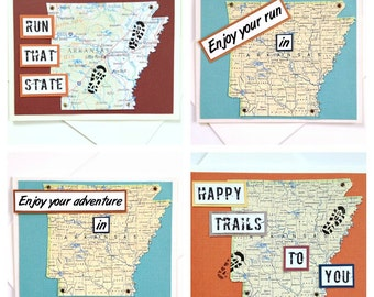 Arkansas - Run (or RAN) That State, Enjoy Your Run, or Happy Trails to You Handmade Running Greeting Card - for Runners, Moving Card