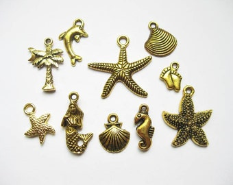 Beach Charm Collection in Gold Tone - C1778