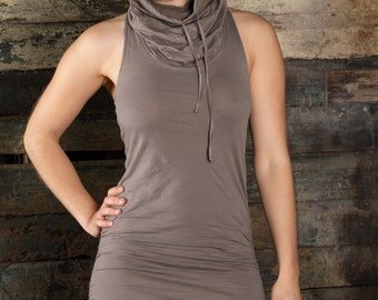 Mini Dress, Cowl neck dress, Hooded Dress