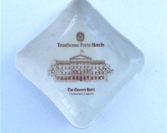 Vintage Soap Tip Tray Ring Dish Trusthouse Forte Hotel The Queens Hotel Souvenir Pillivuyt Porcelain J Chomette Pottery Pilvite Mehun France