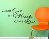 Wall Decal: Clear Eyes Full Hearts Can't Lose Sports Vinyl Wall Sticker Quote Wall Decor - WD0053