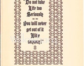 Do Not Take Life too Seriously. 1926 two-toned political comic plate. roycroft