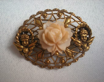 Last Chance Sale, Victorian Revival Carved Coral and Angel Pin
