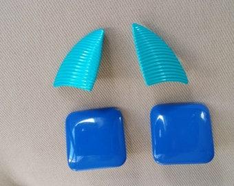 1980s Aqua and Royal Blue Metal Enamel Earrings, Lot of 2