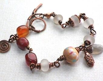 Wire wrapped handmade Copper bracelet Carnelian lampwork glass red white jewelry