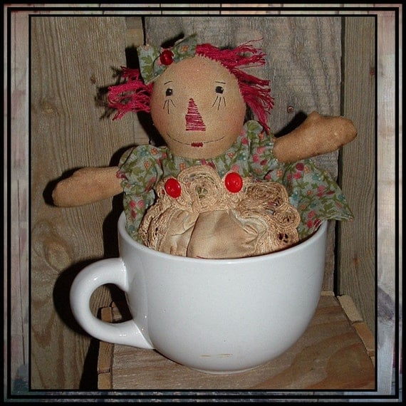 Primitive raggedy folk art miniature 10 inch raggedy ann HAFAIR cloth rag doll OFG