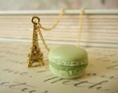 Paris Necklace -  Macaron and Eiffel Tower Necklace