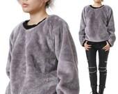 SALE 32.00 RTBU Urban Punk Teddy Faux Fur Taro Purple Gray Velvet Furry Sweatshirt Jumper