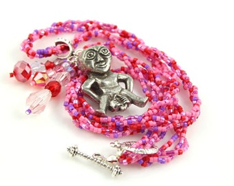 Sheela-na-gig fertility necklace, Rose and lilac, TTC, baby, conception, mama necklace, birth goddess, Celtic fertility symbol