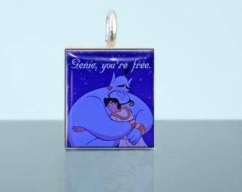 Aladdin, Genie, Robin Williams, Genie you're free,  Scrabble Tile pendant necklace, Scrabble pendant, Scrabble necklace, Scrabble jewelry