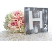 LARGE Rustic Scrabble Tiles - Solid Wood - Wedding Table Numbers
