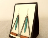 Triangle Earrings - Turquoise Spikes & Copper - Geometric Design