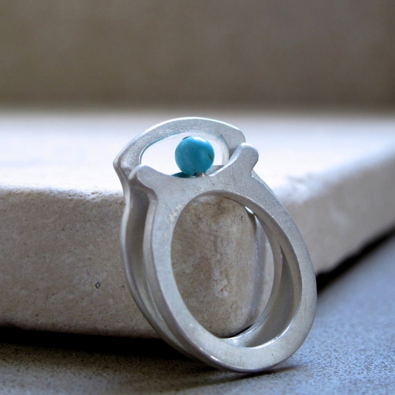 Evil Eye Ring in Sterling Silver, Set of 2 Stacking Rings With Turquoise Gemstone