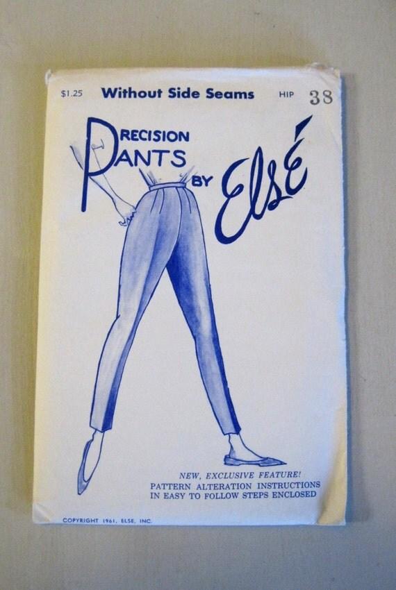 1960s Sloper Pants Pattern, Hip 38, Waist 28, Precision Pants by Else, Fits Pants to Your Figure, Tapered, Capri Pants, UNCUT FF