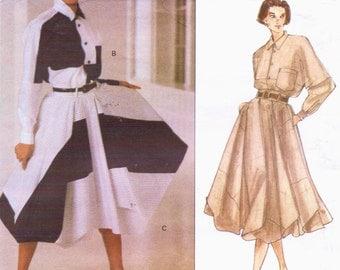 1990s Issey Miyake Womens Shirt & Flared, Draped Skirt Vogue Designer Original Sewing Pattern 1160 Size 10 Bust 32 1/2 UnCut Color Block