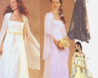 Womens Lined Bridal Gown and Bridesmaid Dress McCalls Sewing Pattern 3010 Size 12 14 16 Bust 34 36 38 Renaissance Dress