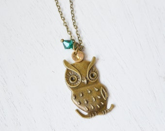 personalized owl necklace, birthstone necklace, cute owl bird necklace, owl charm, whimsical, everyday jewelry, holiday gift, bridesmaid