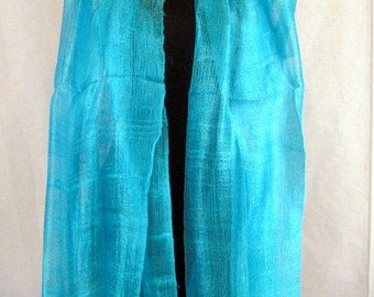 "100 % Thai Raw Pure Silk Scarf Shawl Wrap  24""x62"" Large Handmade in Turquoise H9"