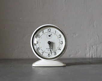Upcycled Mid Century French Japy Alarm Clock  White 50's Retro