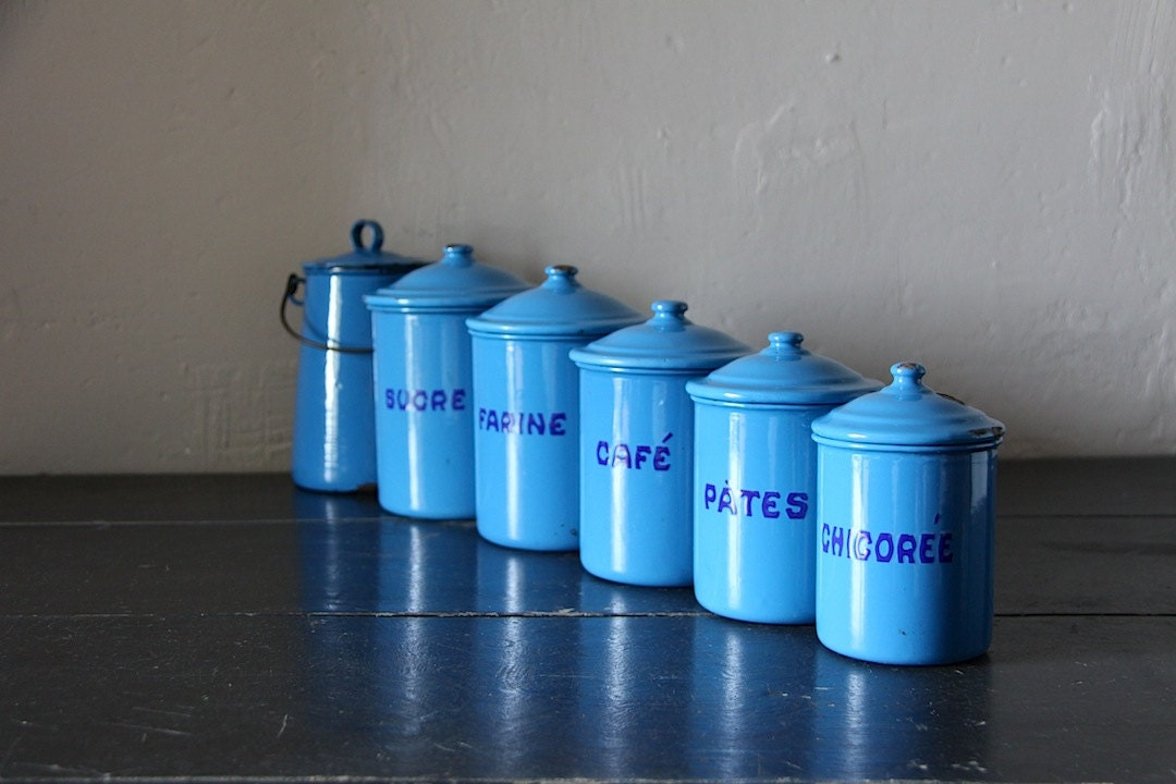 antique french enamel kitchen canister set in blue with the